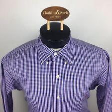 Ralph Lauren Mens Dress Shirt Medium Blair 100% Cotton Blue Plaid Red Pony