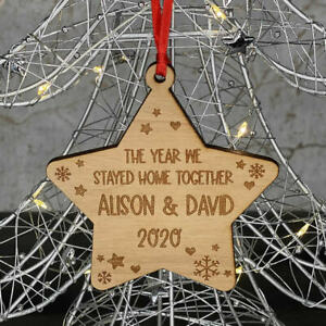 PERSONALISED LOCKDOWN COUPLES, MR & MRS, FAMILY CHRISTMAS TREE DECORATION BAUBLE