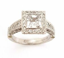 1.0 CTS Princess Cut Square Halo Semi-Mount Diamond 18k Engagement Wedding Ring