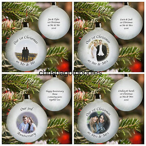 PERSONALISED OUR 1ST FIRST CHRISTMAS TOGETHER MARRIED TREE BAUBLE Gifts ANY YEAR