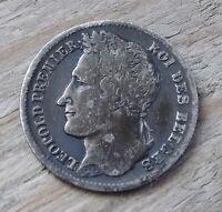 Belgium 1/4 Franc Coin~1834 Leopold I~KM#8 Signature~.900 Silver 1.25g~aVF~#378