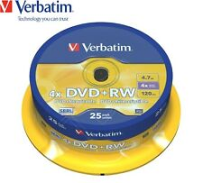 Verbatim DVD+RW 4.7GB 4x Speed 120min Rewritable DVD Discs Spindle Pack 25