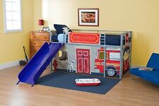 Toddler Bed Curtain Heavy Duty Set for Junior Loft Bed Kids Boys Fire Department