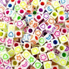 100pcs Flower Moon Stars Square Plastic Beads Lot Craft/Kids Jewelry Making