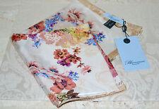 NWT $290 BLUMARINE Rose Print Twill Silk Foulard Scarf 35 Made in Italy