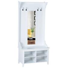 Garderobenständer mit Sitzbank Garderobenset Schuhschrank Spiegel 4 Haken Flur