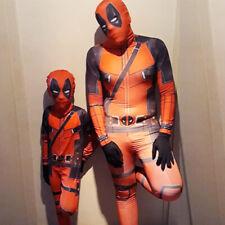 Adult Kids Boys Deadpool Cosplay Costume Lycra Zentai Bodysuit Jumpsuit Suit