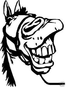 Laughing horse head decal sticker ute BNS truck car  float 15hx 12w cm