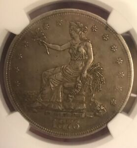 1876. Trade dollar,  NGC. AU53,  almost uncirculated , toned