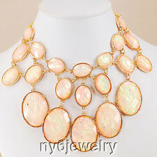Beautiful! Simulated Pink Opal Necklace w/Gold Tone Chain and Clasp 18-21""