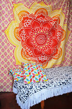Ethnic Lotus mandala Wall Hanging Twin Tapestry Bedspread Throw Hippie Bohemian