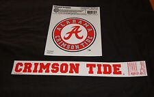 """UNIVERSITY OF ALABAMA CLEAR STATIC CLING DEAL 6 1/2"""" CIRCLE AND 2"""" X 15"""" SCRIPT"""