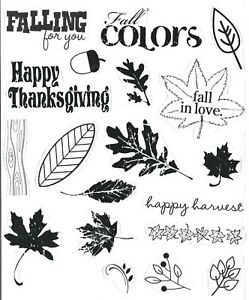 unbranded AUTUMN / FALL / THANKSGIVING clear acrylic stamps - lot of 19