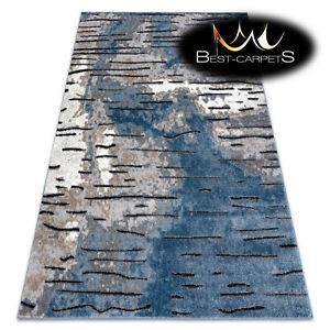 Amazing Designer structural soft Rug 'COZY' Rio blue grey black Best Quality