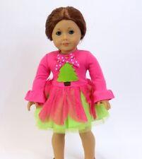 "FITS 18"" AMERICAN GIRL DOLL Colorful Whimsical Christmas Tree Chiffon Dress"