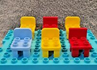 Lego Duplo - Set Of 6 Chairs, Yellow - Red & Light Blue, For Houses *Free UK P&P