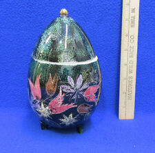 Sascha Brastoff Hand Painted Egg Shaped 3 Footed Container Jar w/ Lid Green