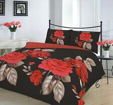 Modern Duvet Cover & Pillow Case Bedding Set Isabella Black Red -size Double