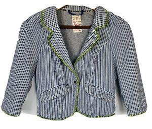 Free People Blue Striped Blazer Seersucker Jacket Green Trim Pockets Size 4
