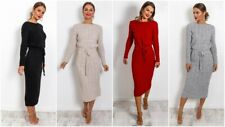 New Women's Cable Knit Long Sleeve Pocket Tie up Ladies Maxi Midi Jumper Dress