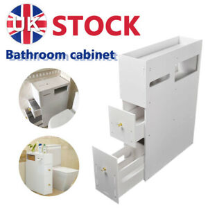 White  Bathroom Cabinet Toilet Paper Roll Holder Slimline Storage Cupboard