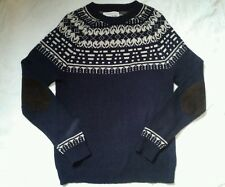 VERY NICE MENS NAVY BLUE & CREAM RIVER ISLAND JUMPER SIZE SMALL