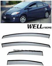 For 10-15 Toyota Prius WellVisors Side Window Visors w/ Black Trim Rain Guard