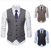 Men Formal Business Herringbone Party Dress Vest Suit Tuxedo Casual Waistcoat