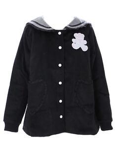 TS-85-1 Schwarz Sailor Teddy Bär Lolita Woll-Jacke Pastel Goth Harajuku Japan