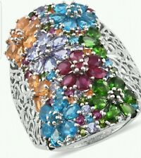 Multi Exotic Gemstones Platinum Over Sterling Silver Ring Sz 7 TGW 8.72 cts.