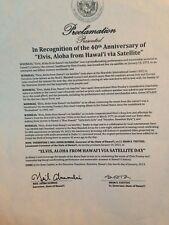 "NOS ELVIS PRESLEY 40TH ANNIVERSARY ""ALOHA FROM HAWAII"" HAWAII STATE PROCLAMATION"