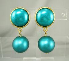 "Vintage 2"" Long Dangling Green Ball Bead Clip On Earrings #10X"