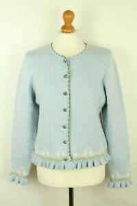Trachten Alm Women's Bavarian Cardigan Jumper Sweater Wool Cotton Size Eu 42