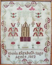 Antique EARLY AMERICAN Framed Embroidery Sampler, dated 1852