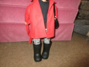 """18"""" Doll Outfit Doll NOT INCLUDED Black Tee, Printed Pants, Red Coat, Bag, Boots"""