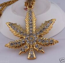 18k Gold Plated Marijuana leaf Rhinestone Pendant Chain Hip Hop Necklace N40