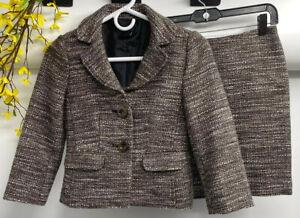 Ann Taylor Women's Brown Polyester Blend Knit 2 Piece Skirt Suit Size 00P EUC.