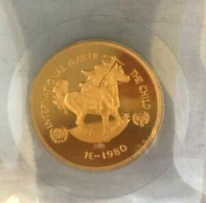 1980 UAE 750 Dirhams BU Gold Coin Year of the Child