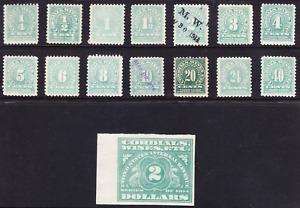 US Scott RE1-RE15 old 1/4c-$2 Wine revenue stamps complete set M/H/OG/VF CV $80