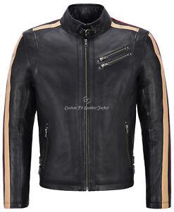 Men Leather Jacket Black With Beige & Red Stripes Biker Motorcycle Style 1831