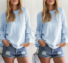 Fashion Women Ladies Summer Loose Casual Cotton Long Sleeve Shirt Tops Blouse M