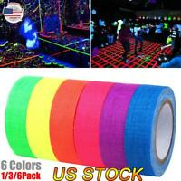 1/3/6 Roll UV Reactive Tape Blacklight Fluorescent Self-adhesive Cloth Tape US