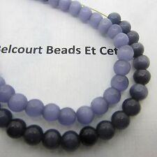 Round Cat's Eye Dark Grey and Purple Grey Cat's Eye Beads 65 PC Each Strand 6mm