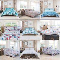 Reversible 100% Cotton Duvet Cover Bedding Set - Single Double King Superking