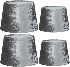"""Grey Velvet Table Lamp Drum Shades - 12"""" 14"""" Crushed Velvet Effect Silver Grey"""