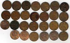 27 different George V, VI & Elizabeth II One penny coin pennies : 1926 - 1967