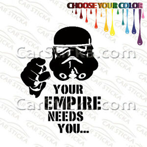 """2 of 5"""" to 20"""" Star Wars Empire Stormtrooper Funny /A car stickers decal die cut"""