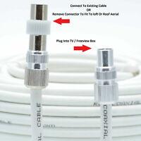 TV Ariel Lead video lead TV Lead, Aerial Coax Cable RF lead RG6 7mm White 2m