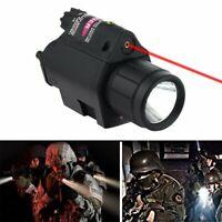 Tactique LED Lampe de Poche Lumière Blanche & Rouge Laser Sight 20mm Rail