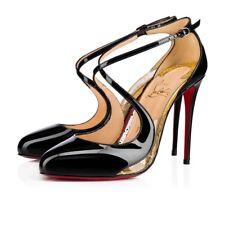 74c0d6478d1da Christian Louboutin Crossettinetta 100 Patent PVC HEELS Sandals Shoes Black  S37